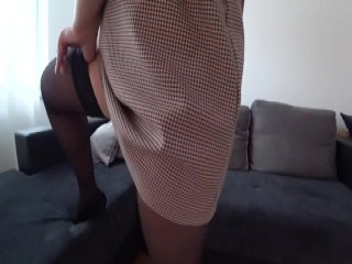 Busty young woman moans while having her wet cooch penetrated