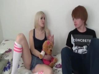 Naughty teen bitch deepthroats and rides a huge wang