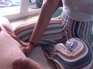 Slender Oriental babe invites her boyfriend to fuck her ach