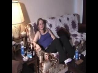 Kinky babe gives footjob